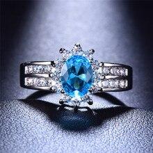 Bamos klasyczny owalny kamień pierścień AAA CZ kolor pierścień niebieski zielony czerwony dwurzędowy pierścionek z białego złota wypełnione biżuteria ślubna dla kobiet