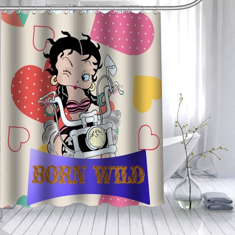 Cortina de ducha ShunQian Betty Boop, gran oferta, tela de poliéster, 12 ganchos para el baño, cortina de baño impermeable a prueba de moho