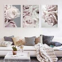 Affiches de toile dart mural nordique pivoine rose   Peinture à fleurs imprimée, décoration scandinave minimaliste, décor de salon