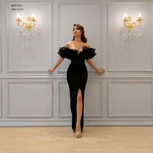 Black Sexy Evening Dresses 2020 Mermaid Cap Sleeves Organza Ruffles Slit Islamic Dubai Saudi Arabic Long Elegant Evening Gown