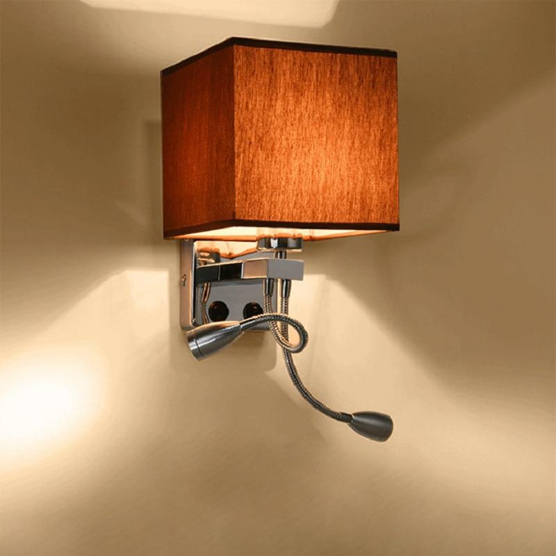 2 In 1 Moderne Led Stof Wandlamp E27 Dubbele Schakelaar 110/220V Wandlampen Schans Slaapkamer Nachtkastje flexibele Leeslamp