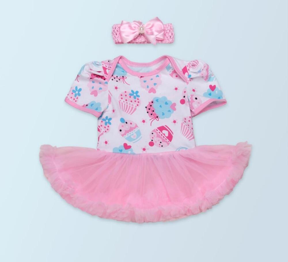 2PCs per Set Newborn Infant Girl Clothes Birthday Cake Baby Girls Birthday Tutu Dress Bead Headband for 0-24Months