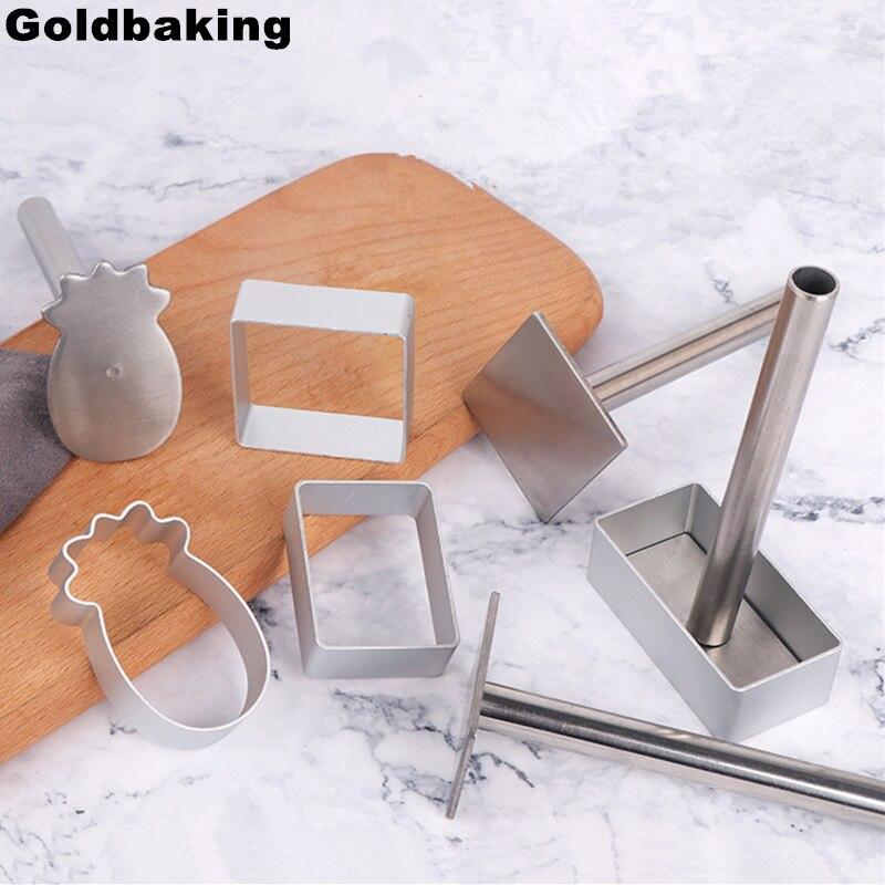 Cortador de galletas de aluminio con sello de prensa, conjunto de 2 piezas de molde cortador de pastel de piña
