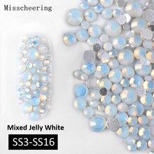 1 paquet multi-taille (SS3-SS16) blanc opale ongles strass paillettes dos plat cristal gemmes 3d Nail Art décorations manucure outils