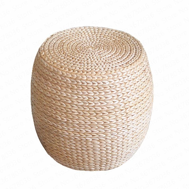 Banco sencillo de madera maciza estilo granja ratán redondo para zapatos Banco cojín taburete hogar sofá redondo muelle vino Otomano