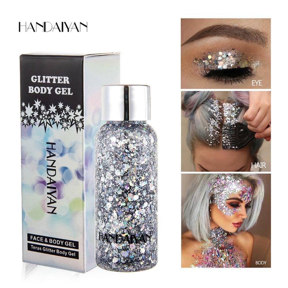 HANDAIYAN 30g Liquid Glitter Eyeshadow Cel Palette Face Body Glitter Flash Heart Sequins Pigment Eye Shadow Decoration TSLM2