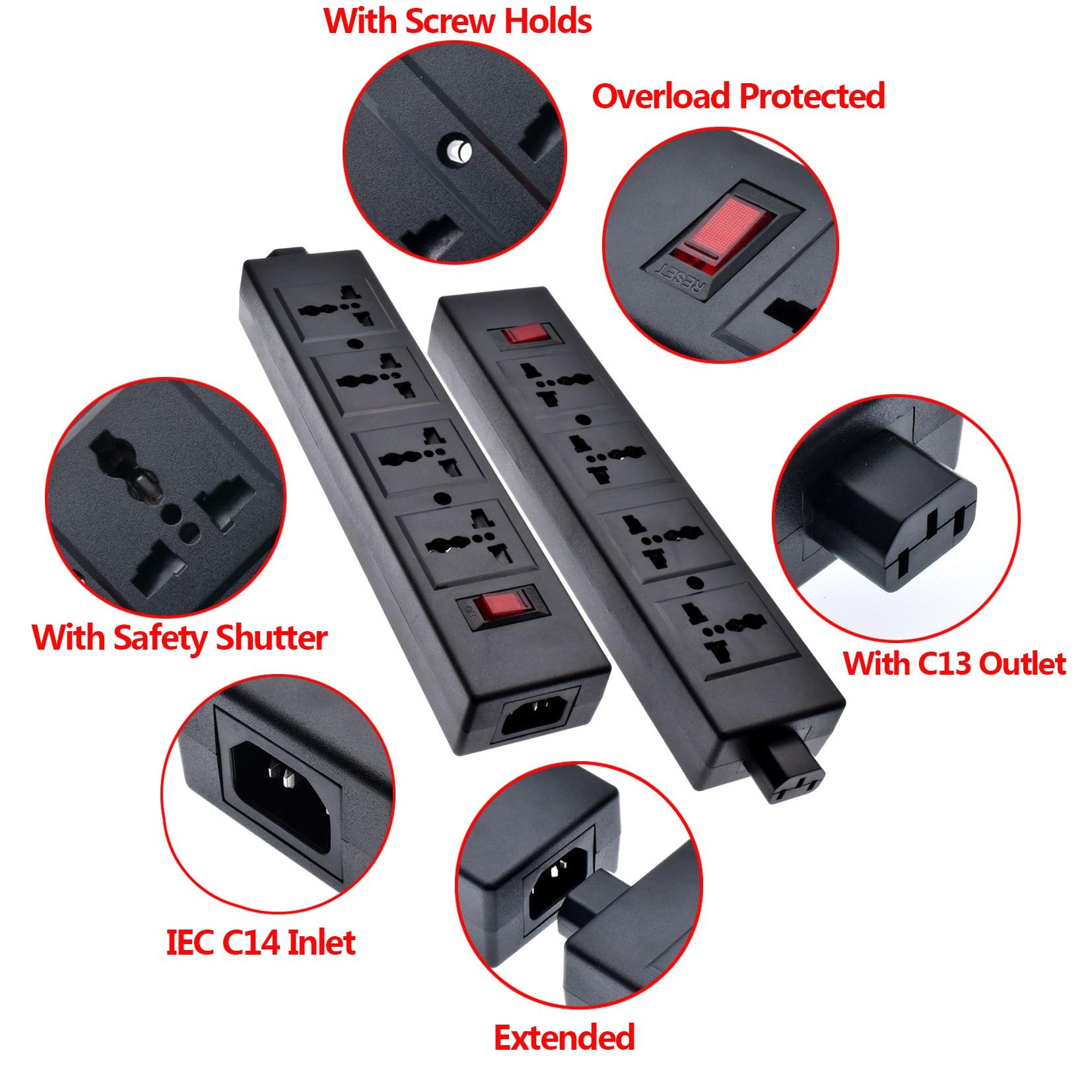 Tira de alimentación PDU extendida para Protector de sobrecarga de laboratorio, con obturador de seguridad salida Universal extendida con salida IEC320 C13
