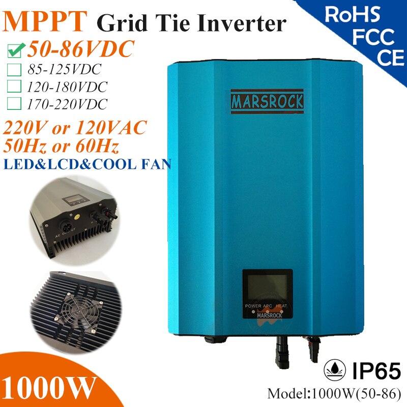 Micro inversor de conexión de red solar MPPT de 1000W con IP65, 50-86VDC, 220V (190.260vac) o 120V (90-140VAC), LED y LCD para sistema de paneles solares