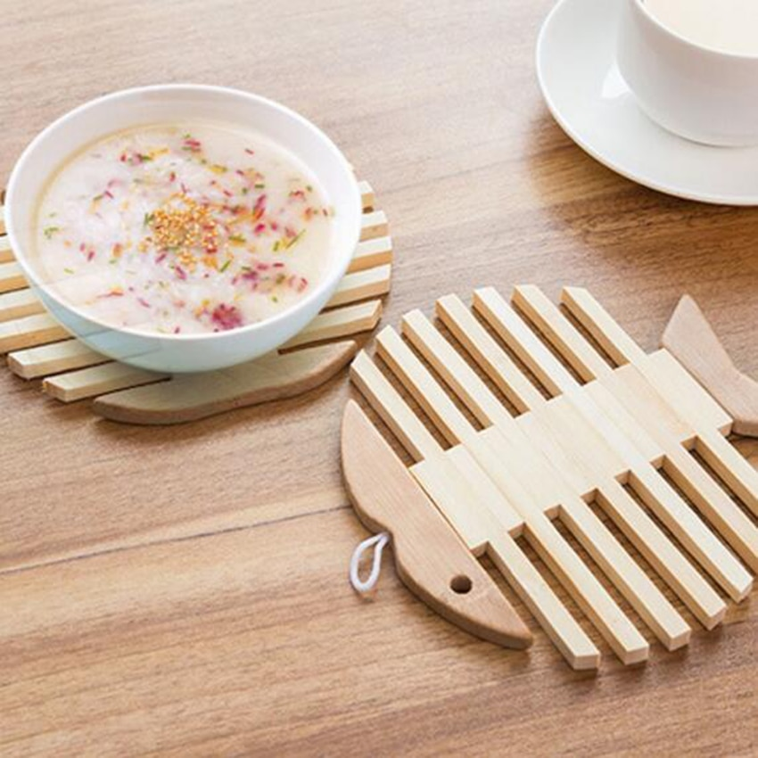 Placemat Hout Hittebestendige Pad Kom Cup Coaster Servies Houder Isolatie Hot Afvoer Pot antislip Keuken Koken Matten