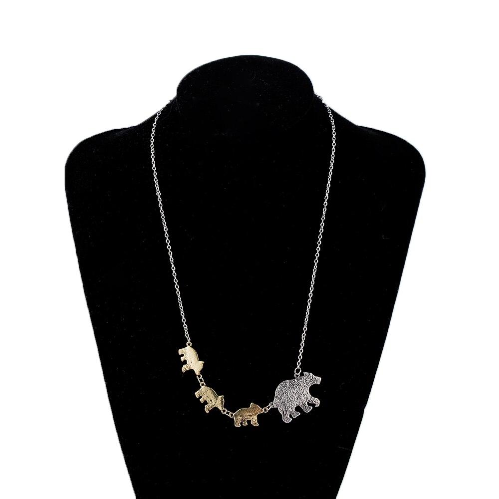 Color plata oro madre niños Amor de mamá y los niños de mamá oso y cachorro Animal colgante de collar