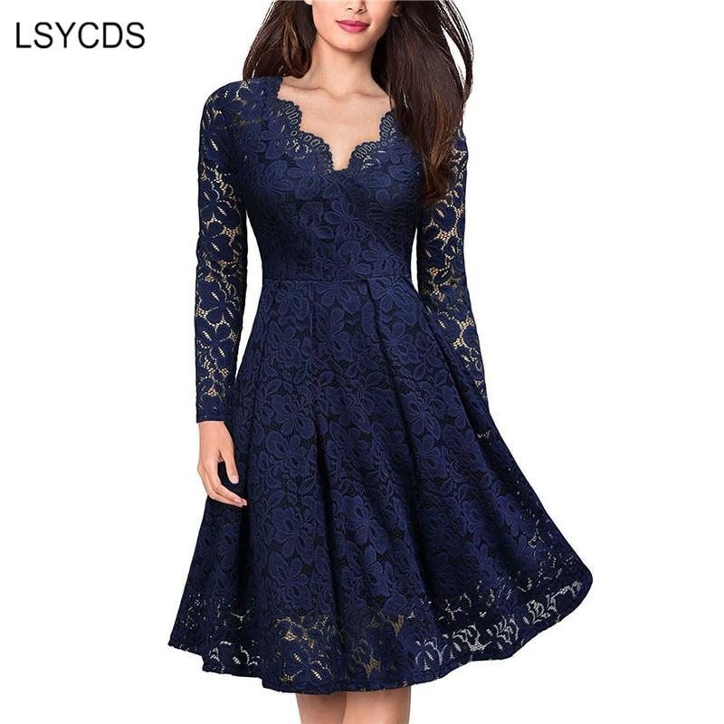 فستان جذاب أنيق للنساء من LSYCDS دانتيل عتيق بأكمام طويلة وفتحة رقبة شكل V أسود وأزرق فساتين سيدات كاجول للحفلات الليلية 2021