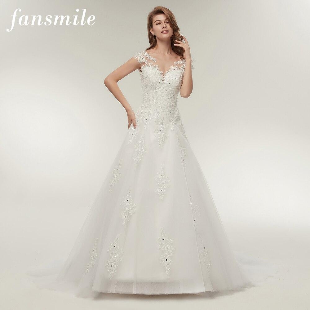 Fansmile, vestido de Novia de tul bordado, vestido de Novia de encaje de sirena, vestido de Novia 2020, Vestidos de Novia de talla grande, FSM-138M personalizado