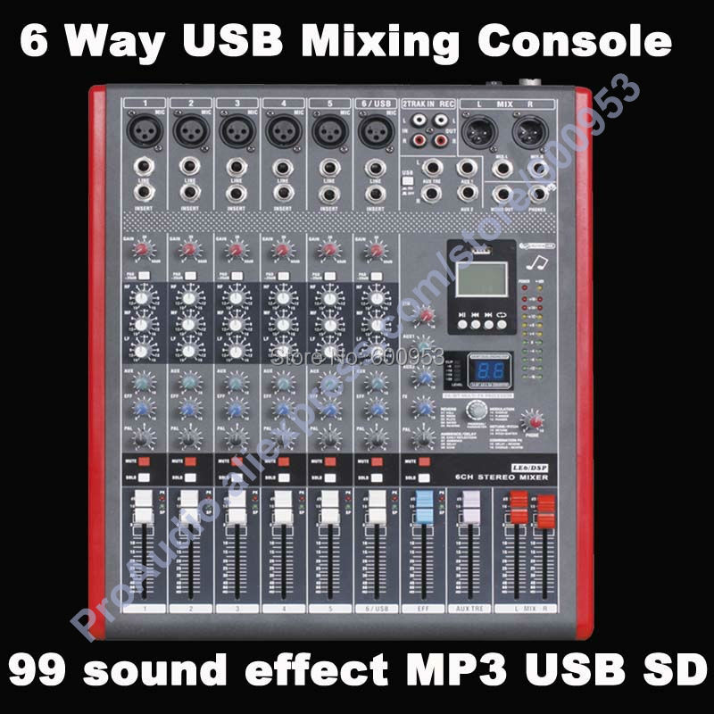 Pro 6 Channel USB Mixing Console Studio Audio Mixers Mixer Multi-FX Processor 99 digital audio-effect MP3 SD