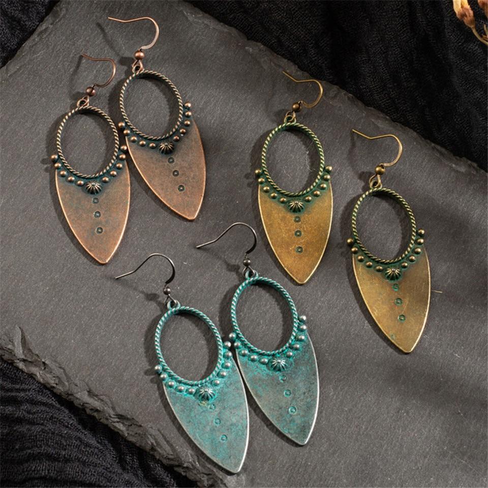 Vintage Bohemia kropla wody kolczyki kolczyki dla kobiet urok antyczny brąz Hollow Dangle kolczyki 2019 biżuteria damska