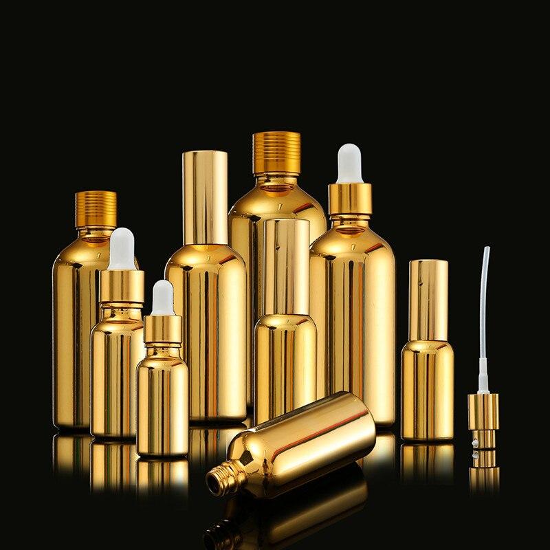 Vacía de 20ml de oro de plata cuentagotas de botella de vidrio con rociador mini frasco de perfume Nasal de e líquido maquillaje recargable contenedores paquete