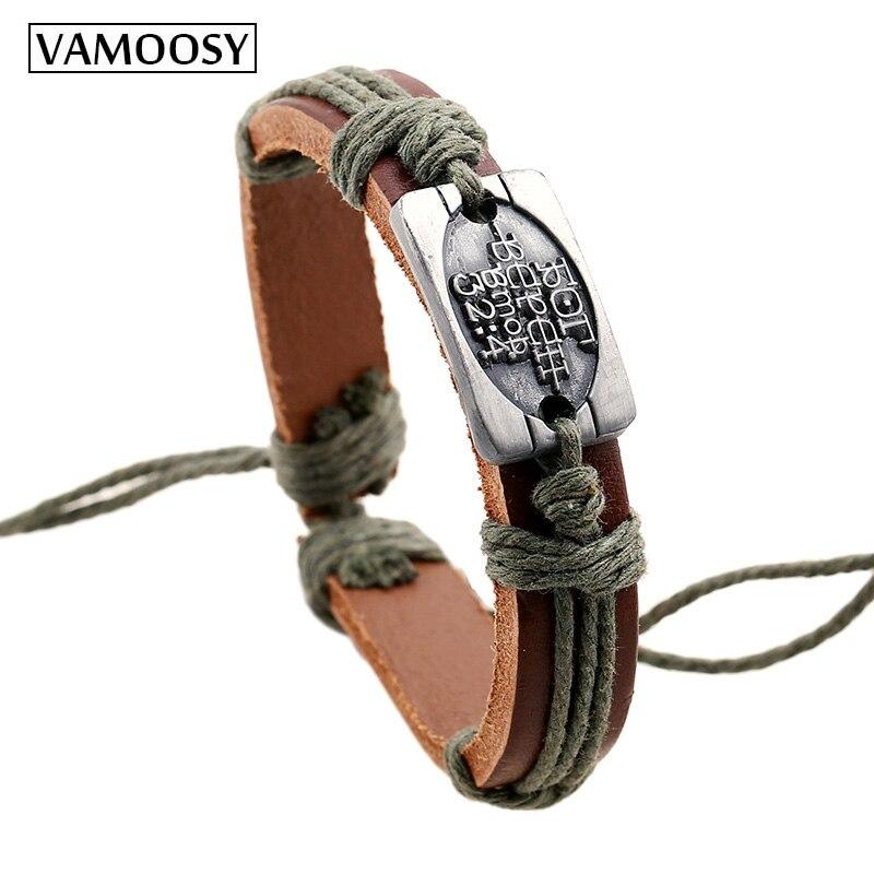 2018 Fashion Brutal Men Bracelets Bijoux Homme Hand Woven Cowboy Leather Bracelets for Women Braided Bracelets Female Jewelry