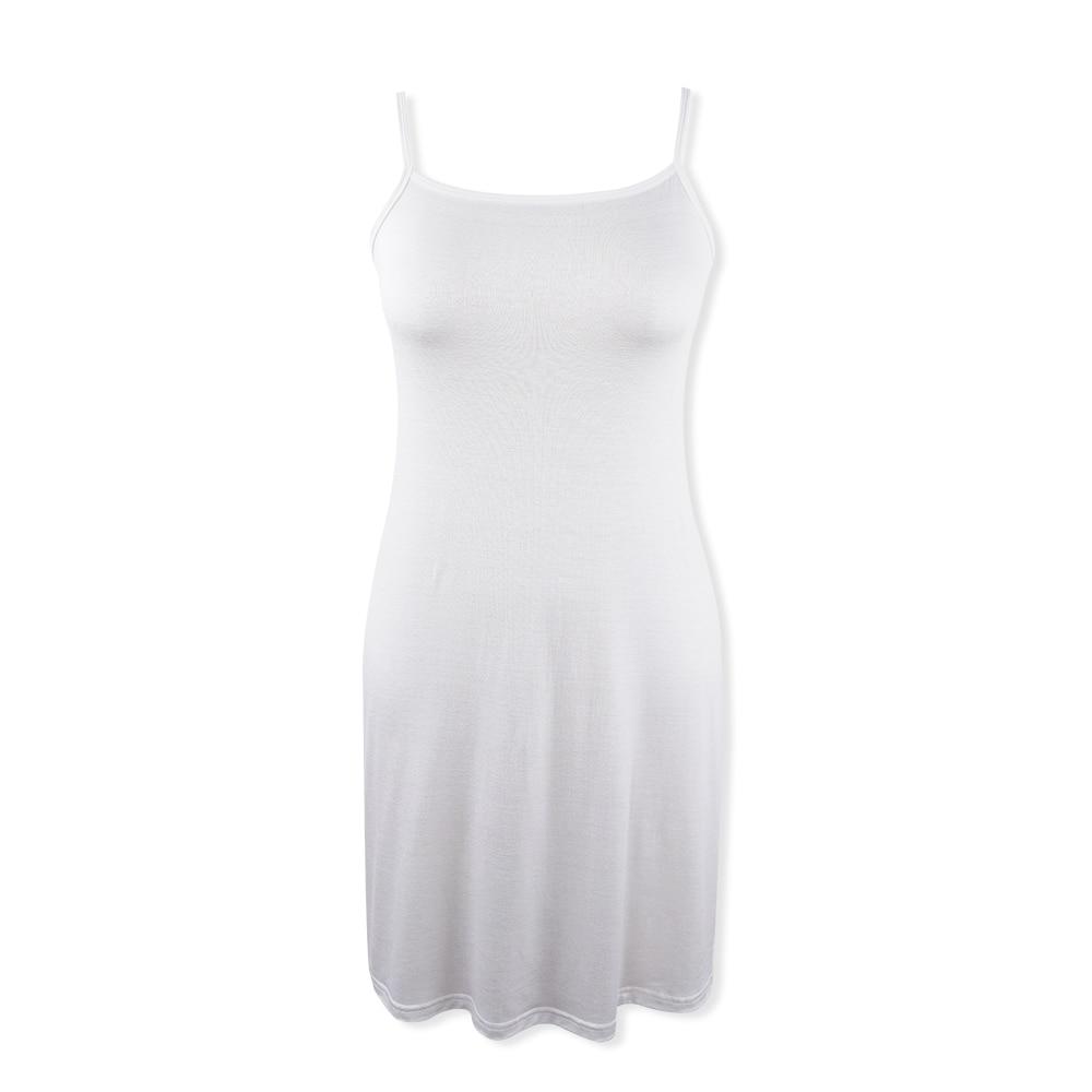 Vestidos suaves elásticos de verano, vestido blanco sin mangas con tirantes finos, vestido a media pierna de Modal para mujer, vestido básico casual