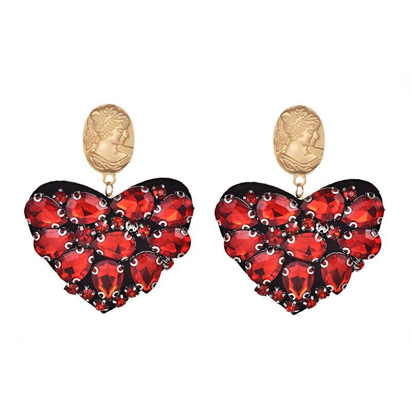 ZHINI Vintage Cute Heart Stud Earrings Handmade Red Crystal Ice Cream face Statement Earrings For Women Indian Boho Jewelry