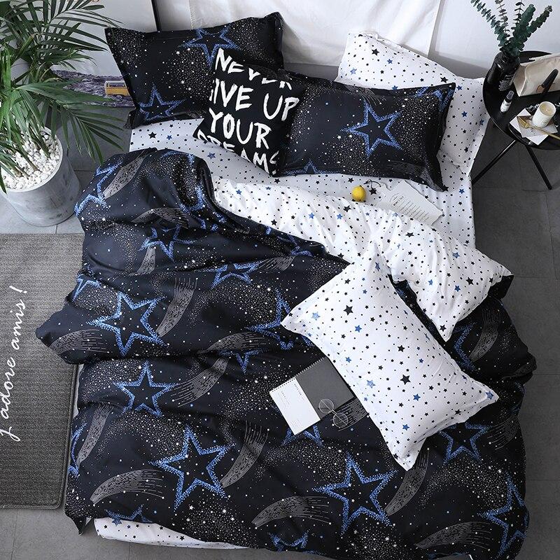 Bonenjoy-طقم أغطية سرير بنجمة بيضاء وسوداء للأطفال ، ملاءة سرير مفرد ومزدوجة ، من مزيج البوليستر ، على الطراز الاسكندنافي