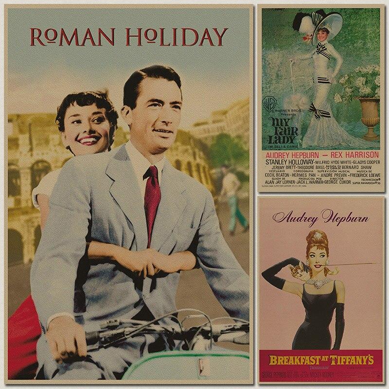 Audrey Hepburn film movie Painting Maid Vintage Kraft Paper Movie Poster Home Decoration Garage Wall Decor Art Retro Prints