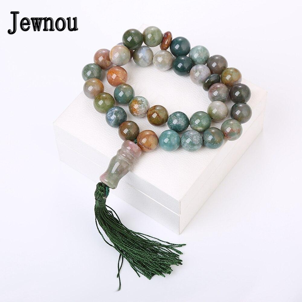 Jewnou ágata acuática Rosario musulmán piedras preciosas naturales Islam Tespih Tibetaanse cuentas redondas de cristal joyería fina borla Accesorios