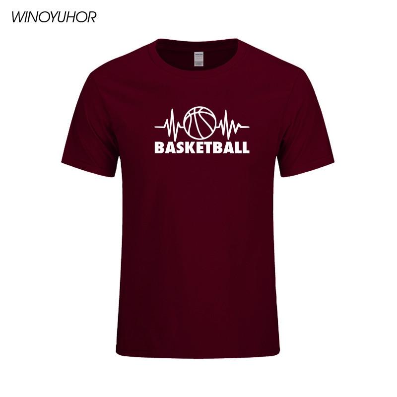 Camiseta de algodón de manga corta informal de verano con estampado divertido de latido del corazón de baloncesto para hombre