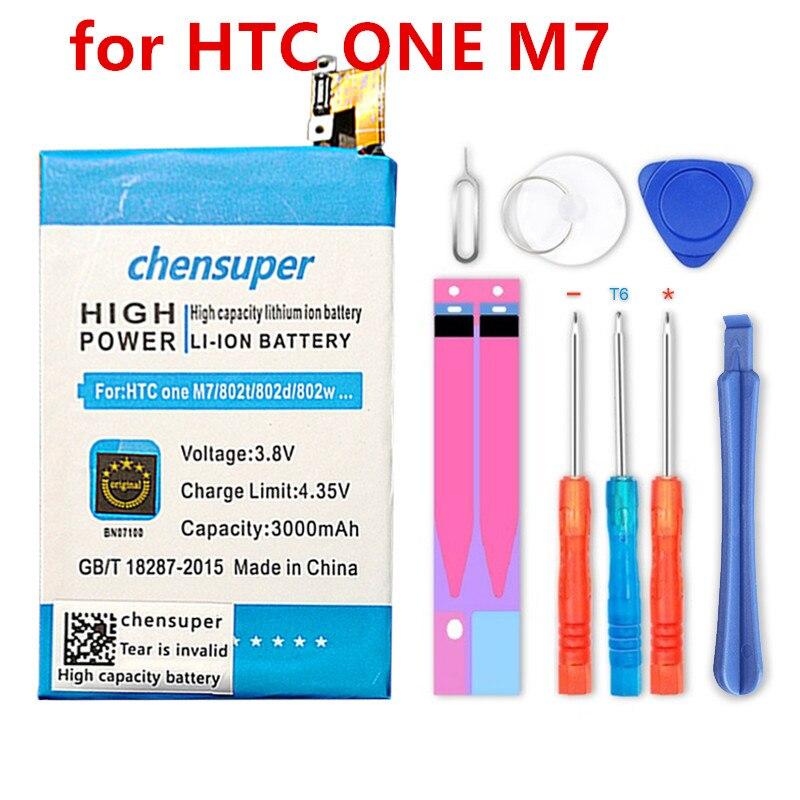 Batería de alta calidad 3000mAh BN07100 Li-ion para teléfono HTC ONE M7 802D 802T 802W 801E 801S 801N batería de teléfono