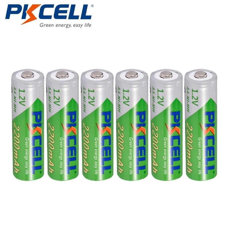 6 x PKCELL AA NiMH Recarregavel Bateria Durable Low Self-discharge 1.2V 2200mAh 2A Ni-MH Rechargeable Battery Batteries Bateria