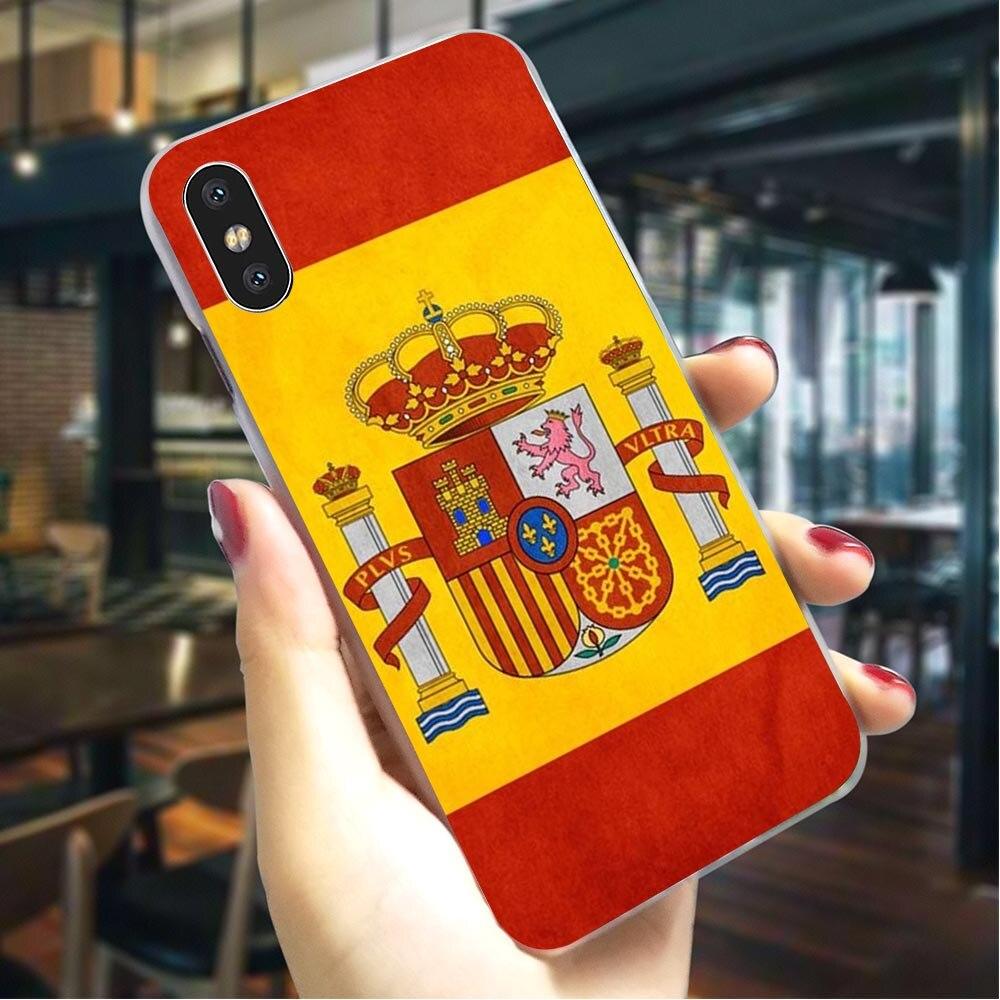 Funda de teléfono dura con bandera de España y América para iPhone SE, funda para iPhone 8, fundas X XR 7 8 Plus 6 6S 5 5S Xs Max 11 pro