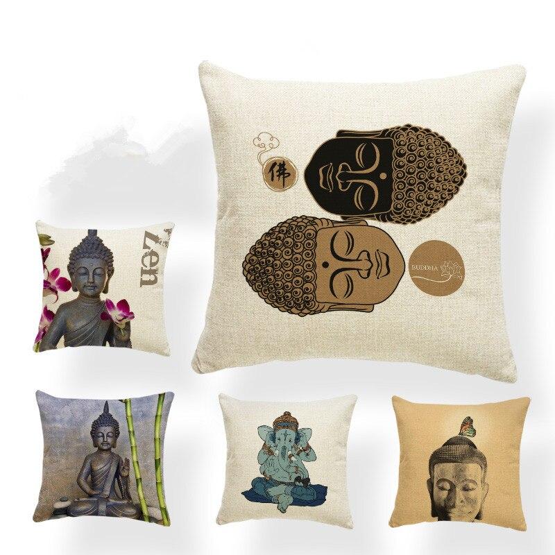 Tailandia China Buddha funda de cojín geometría funda para almohada en color azul bambú acuarela fundas de almohada carta sofá regalos 45Cm caliente