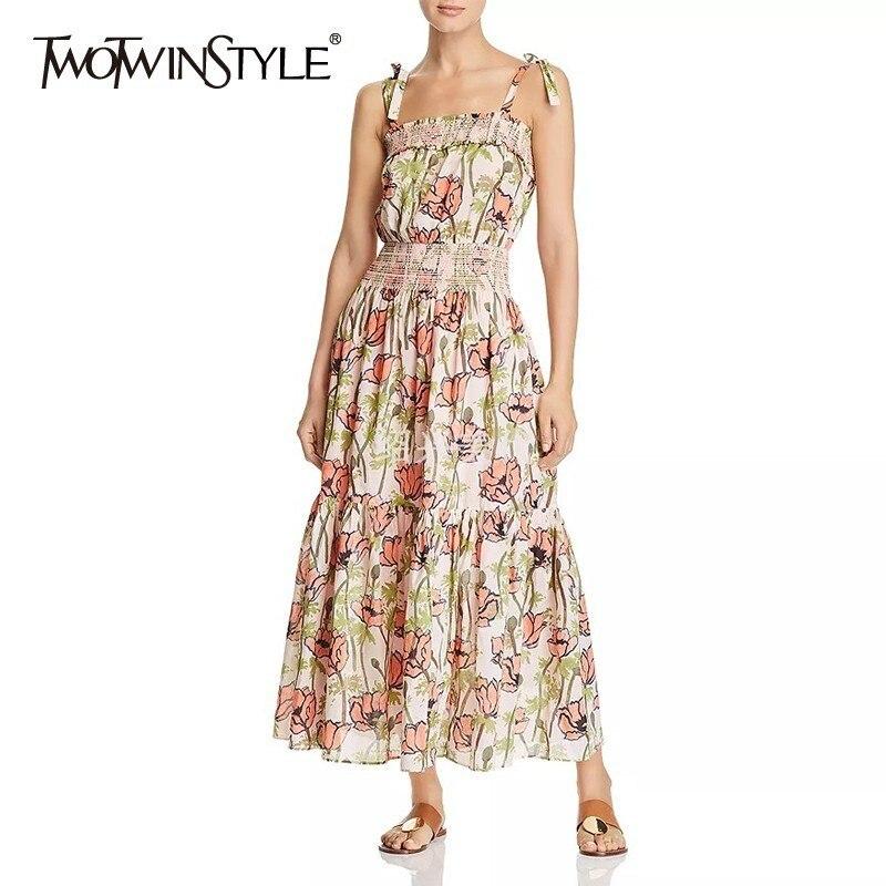 TWOTWINSTYLE, vestido con hombros descubiertos estampado de verano para mujer, vestidos sin mangas de cintura alta a media pierna ajustado, ropa a la moda femenina, novedad de 2020