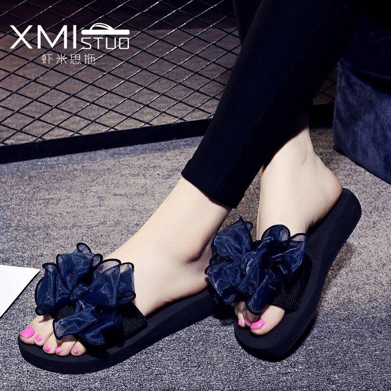 XMISTUO-شبشب نسائي زهري ، صندل شاطئ غير رسمي مريح وغير قابل للانزلاق مع فيونكة ملونة