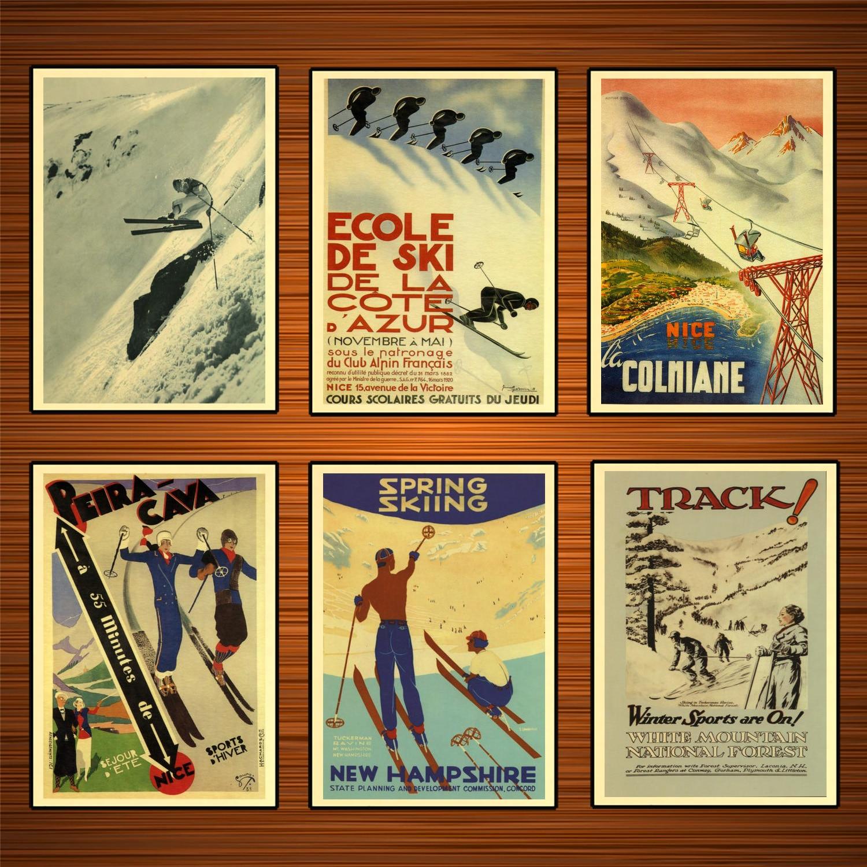 Vintage esquí póster de viaje Montaña Blanca Bosque Nacional pinturas clásicas en lienzo carteles de pared pegatinas decoración del hogar regalo