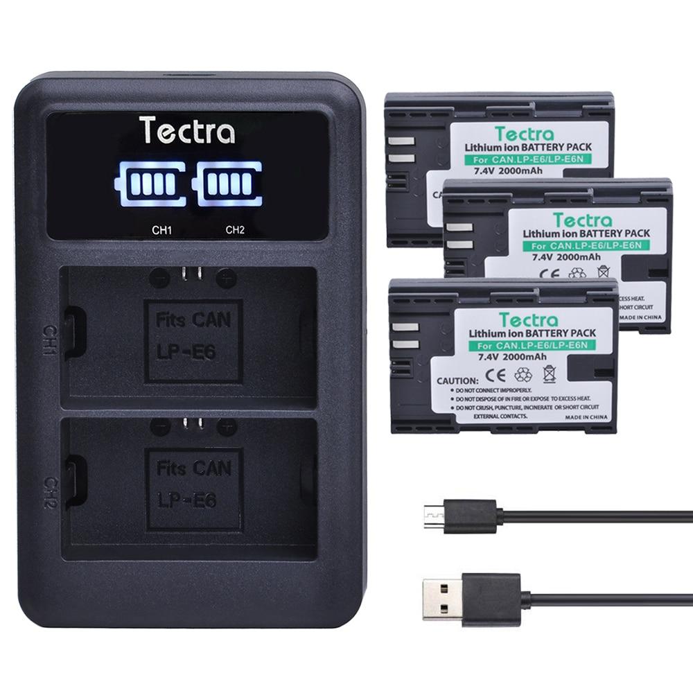 Tectra LP-E6 LP E6 LP E6N 3 uds digital batería + pantalla...