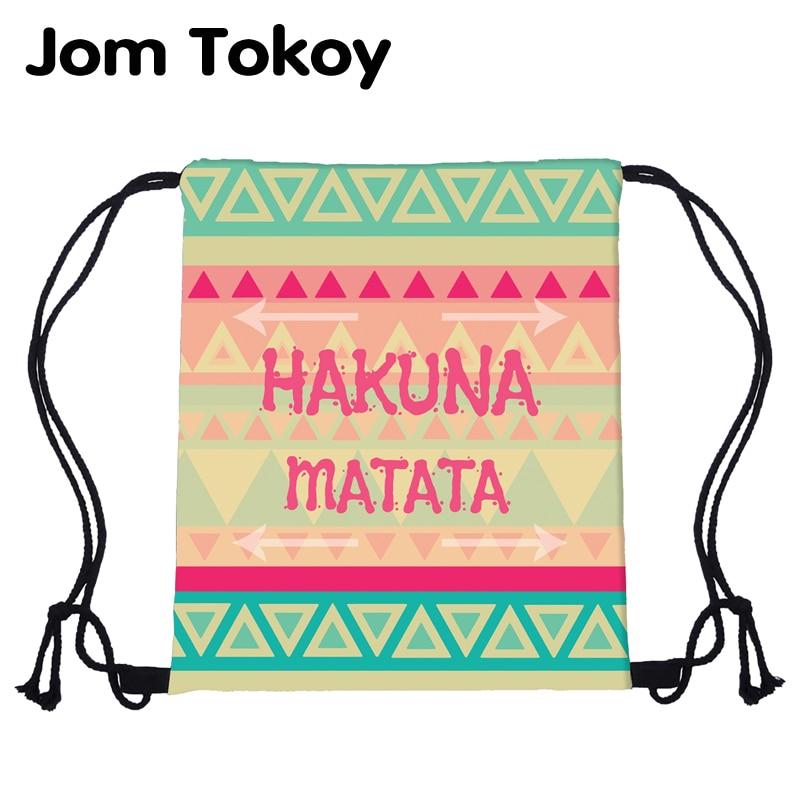 deanfun drawstring bag hot selling 3d printing softback man woman backpacks s89 JomTokoy Fashion Women Backpack HAKUNAMATATA Pattern Printing Travel Softback Women Mochila Drawstring backpacks