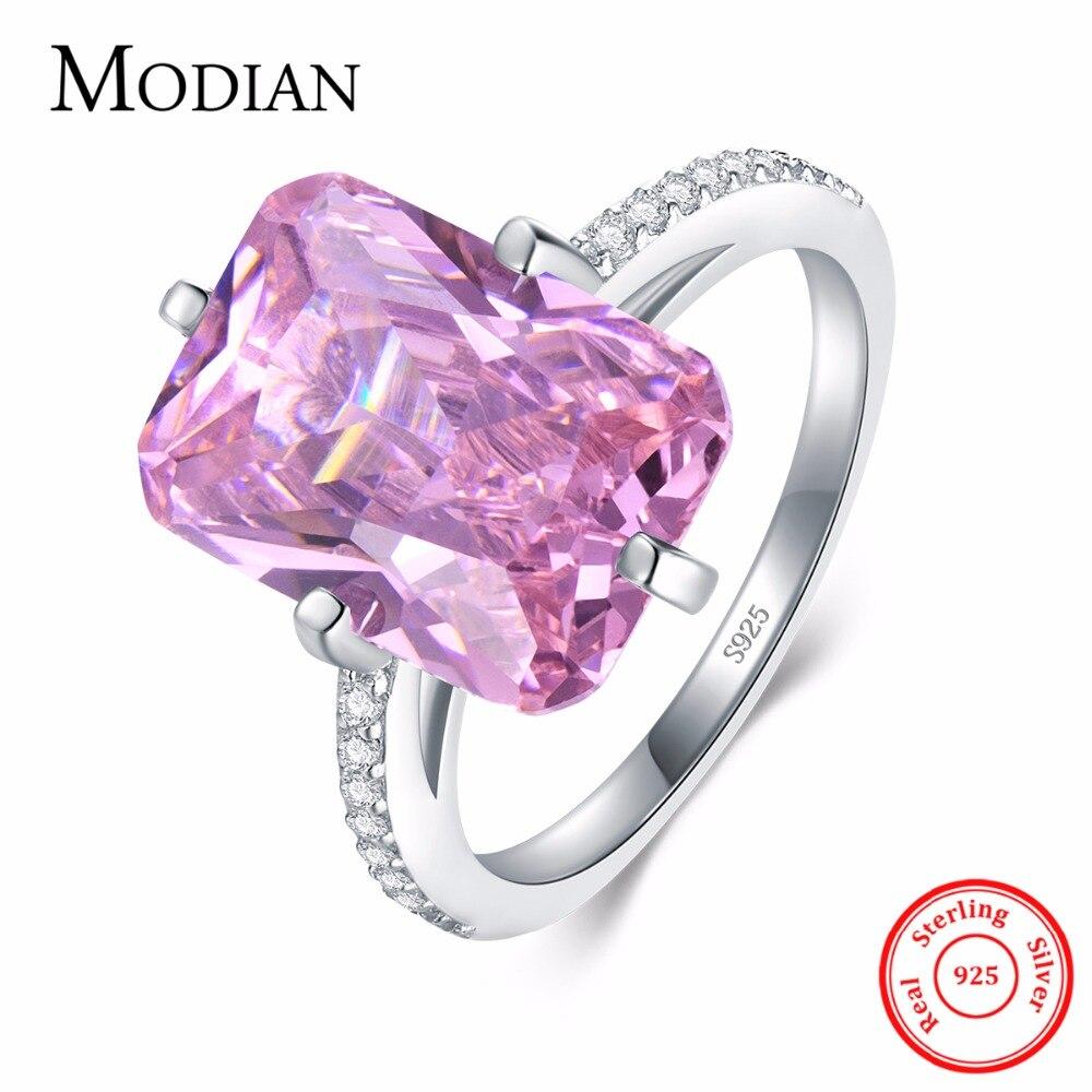 Modian venda quente 100% 925 prata esterlina anéis de luxo moda rosa cristal festa anéis para mulheres noivado jóias casais presente