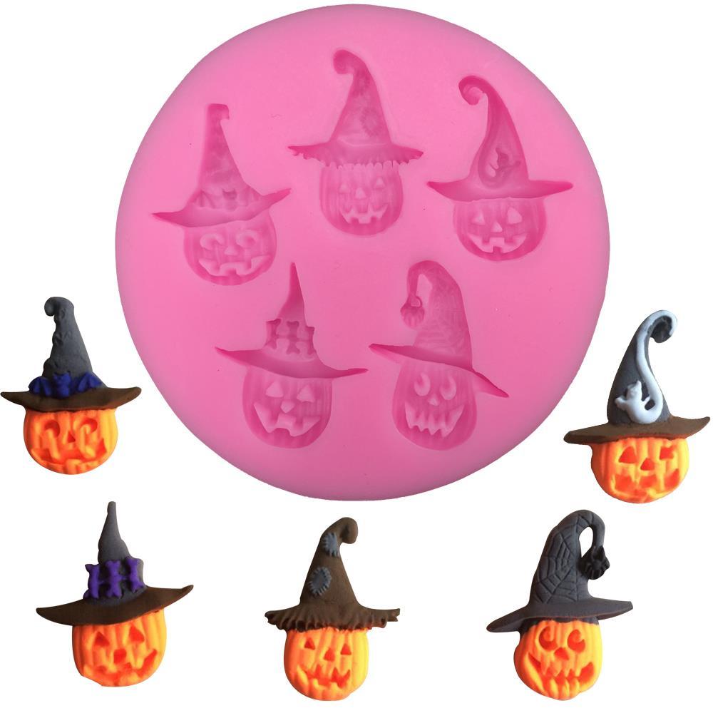 Envío Gratis Halloween sombrero de bruja calabaza chocolate herramientas de decoración para tartas de fiesta DIY molde de silicona para hornear fondant T0272