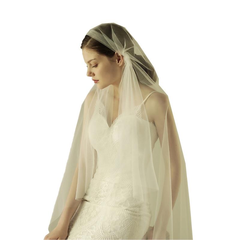 Weiß elfenbein cut rand fingertip braut hochzeit schleier velo para novia