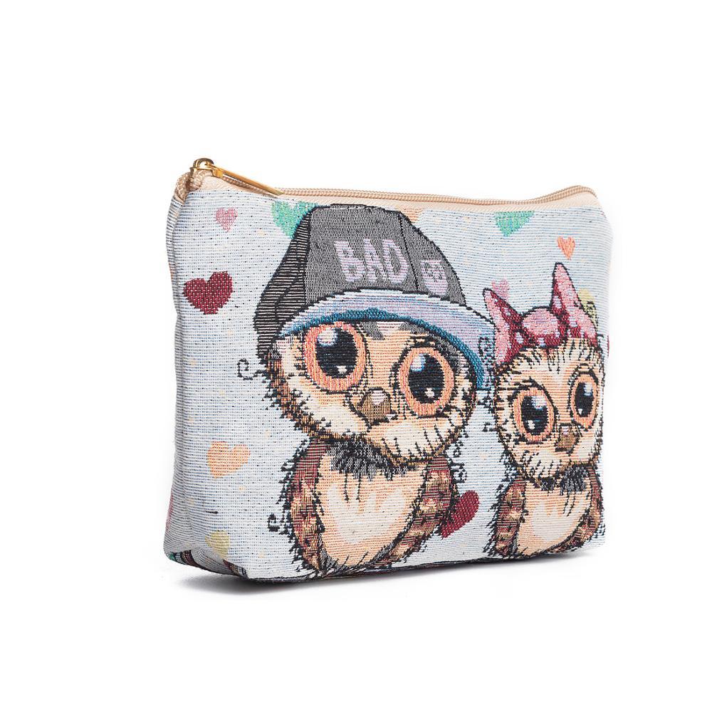Miyhouse coruja design feminino saco de cosméticos mini saco de beleza para o sexo feminino pequeno multifuncional compõem o saco para viagens senhoras