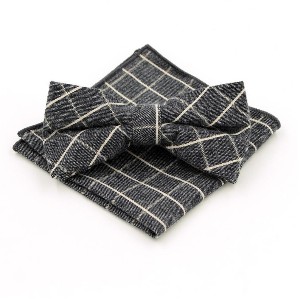 New Arrival Plaid Gentleman's Adjustable Leisure Bowtie Hanky Set Cravat Handkerchief Dark Grey Butterfly Pocket Square