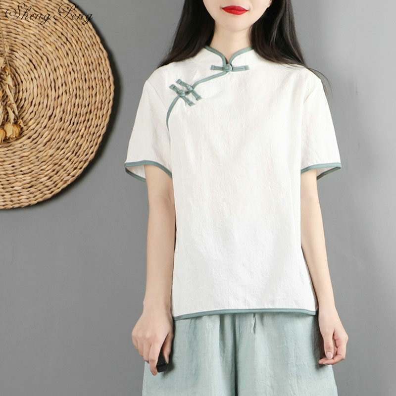 Tops chinos tradicionales de manga corta cheongsam top tradicional china Top Oriental blusa femenina G157