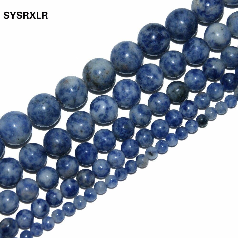 Punto Blanco azul veta sodalita piedra Natural para fabricación de joyería DIY Material para el 4MM 6MM 8MM 10MM 12MM pulsera de hilo