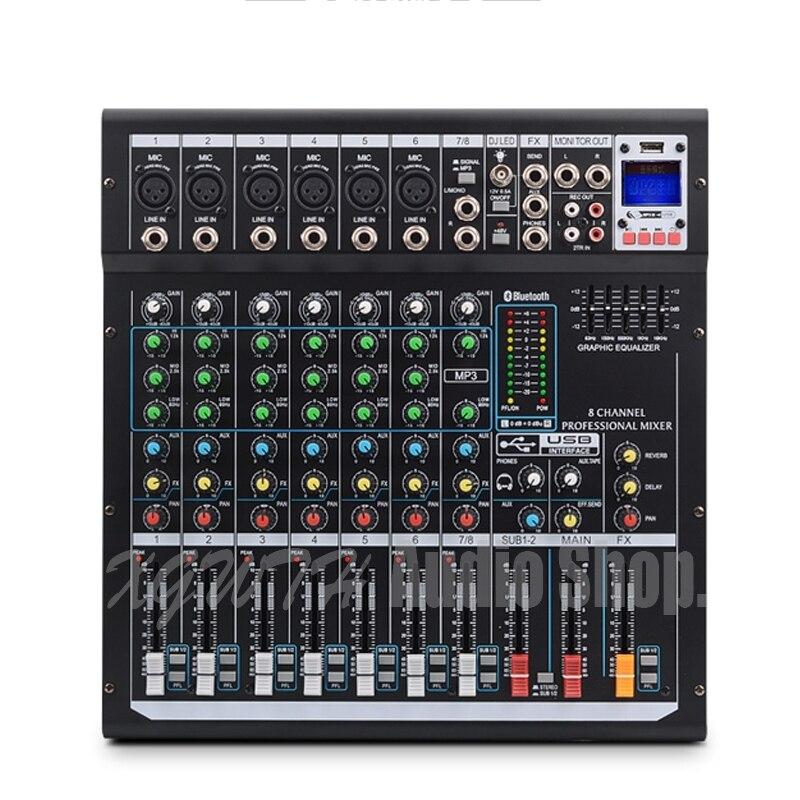 وحدة خلط الصوت الاحترافية ذات 8 قنوات مع تأثيرات DSP الرقمية ، بلوتوث ، USB 48 فولت ، طاقة فانتوم للمرحلة
