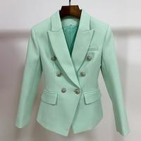 HIGH STREET Classic Baroque Designer Blazer Jacket Women\'s Metal Lion Buttons Double Breasted Textured Blazer Mint Green