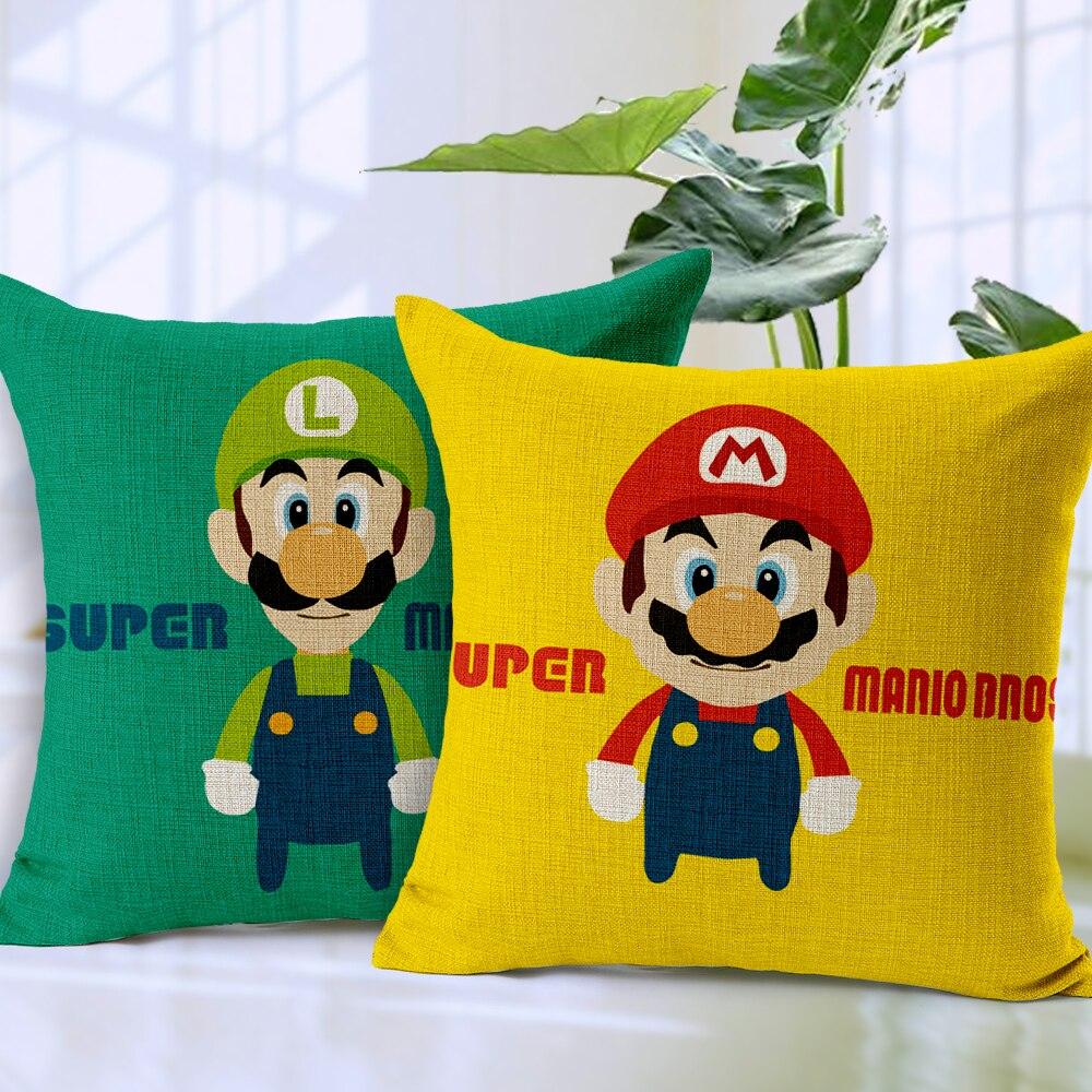 Funda de almohada Super Mario brother, funda de almohada creativa de dibujos animados Mario Luigi seta flor