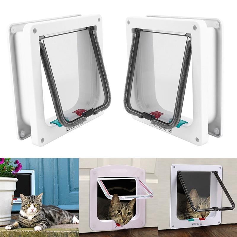 4 Way Lockable Dog Cat Kitten Door Small Medium Large Pet Supply Lock Lockable Safe Flap Door  Flap pet door D35