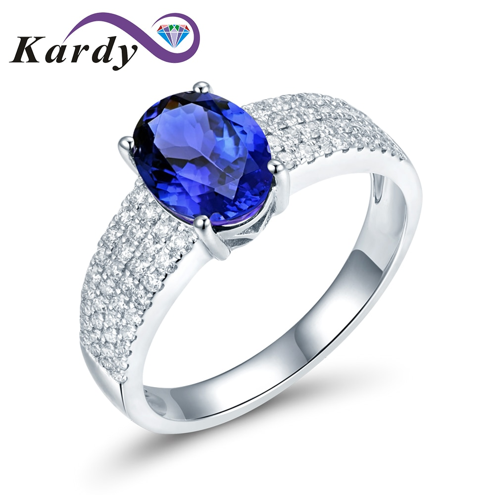 Eternity Diamond Fashion tanzanita Natural piedra preciosa de corte ovalado sólido 14K oro blanco boda compromiso fina moda anillo Set