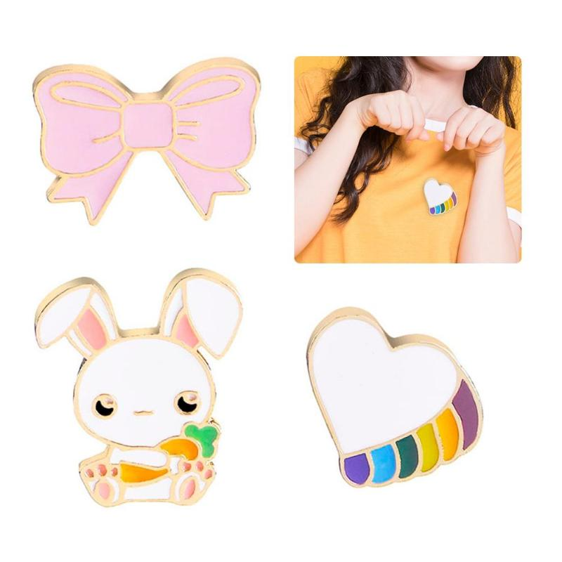 JOCESSTYLE Cute Women Costume Brooches Cartoon Rabbit Bowknot Love Heart Pin Jewelry Casual Decoration Gift  Kids Children