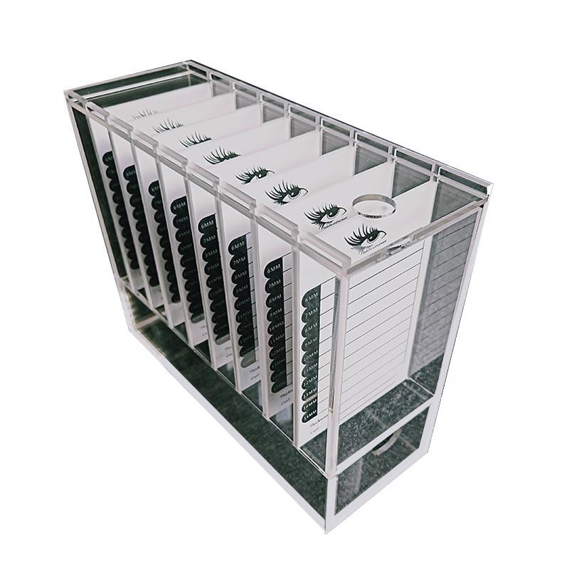 ¡Oferta! caja de almacenamiento de pestañas acrílicas de 8 capas de 200*75*170mm, recipiente de exhibición para maquillaje, pegamento para pestañas, soporte para pallet, caja transparente