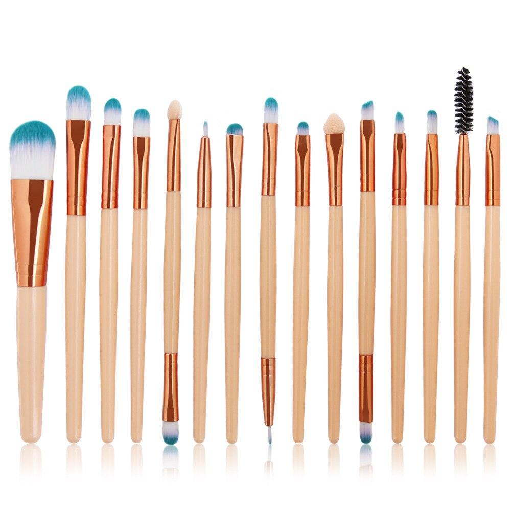 New 15Pcs Women Professional Makeup Brush Set Kits Eyebrow Powder Eyelashes Makeup Brushs de30de18